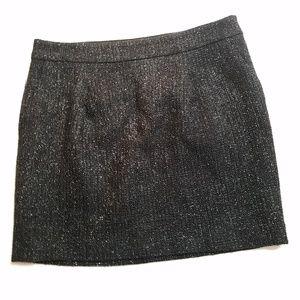 Ann Taylor Sparkly Black Skirt Pockets Wool